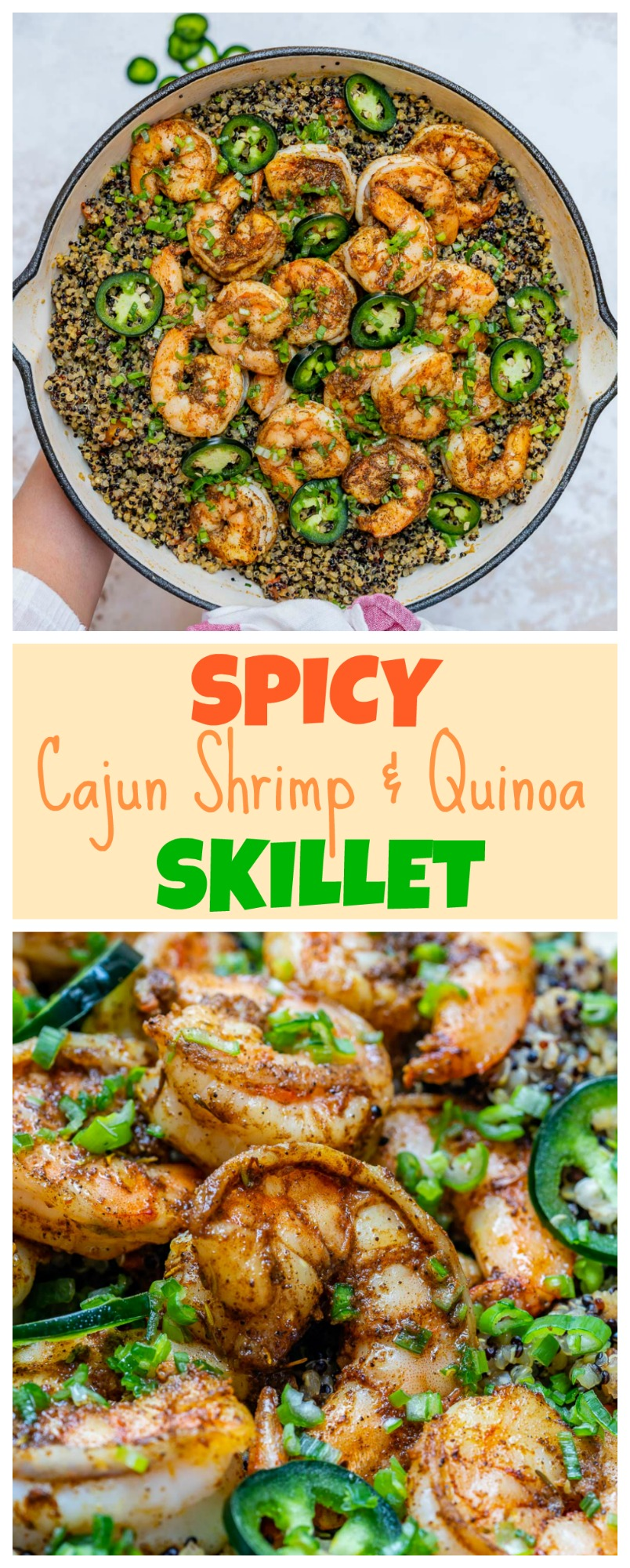 Clean Food Spicy Cajun Shrimp Quinoa Skillet