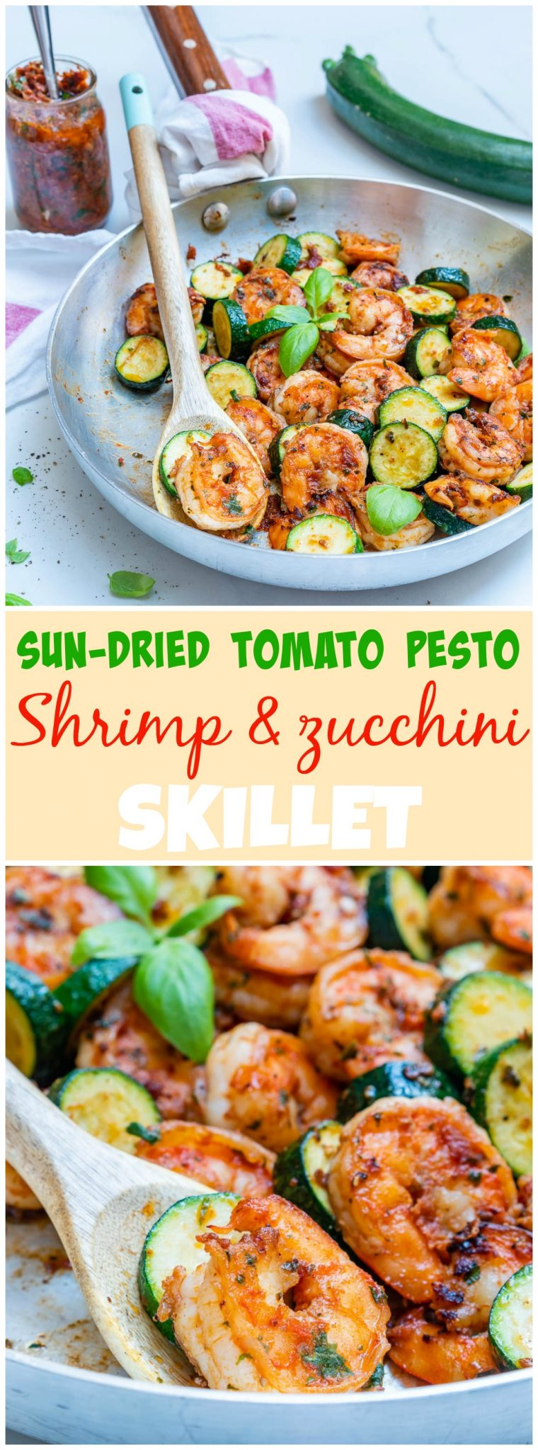 Sun-dried Tomato Pesto Shrimp Zucchini Skillet Meal Prep