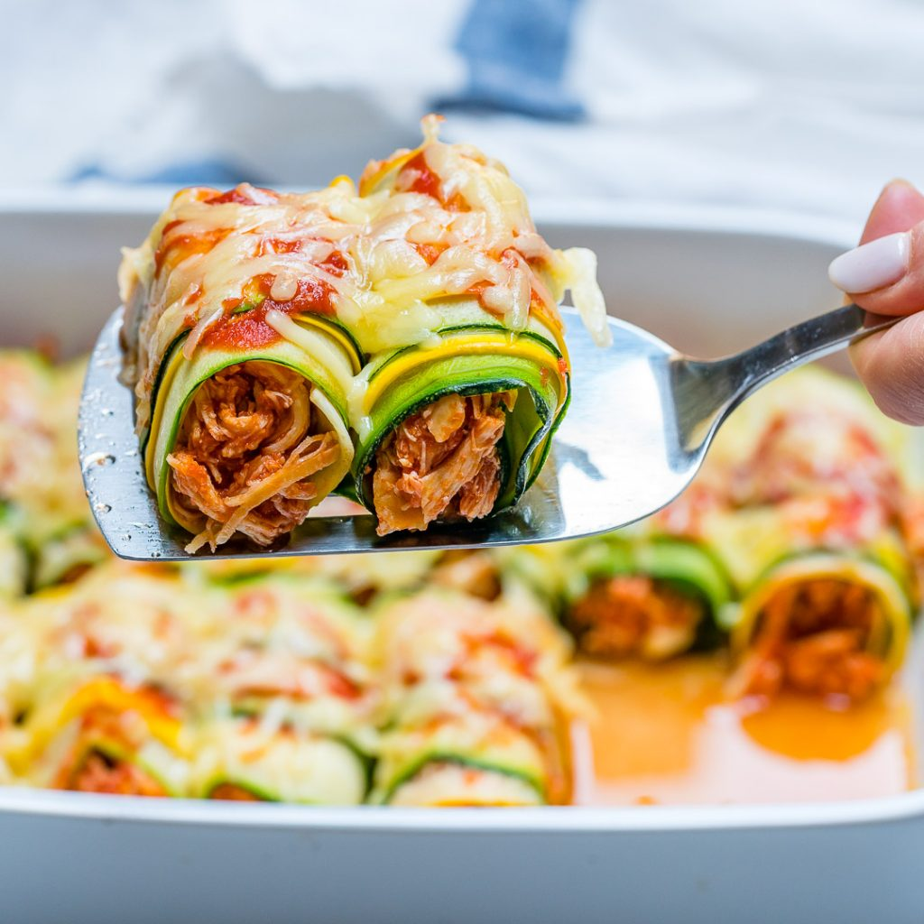 Healthy Zucchini Chicken Enchilada Roll-Ups