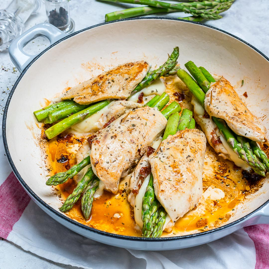 Eat Clean Asparagus Sun dried Tomato Stuffed Chicken Skillet