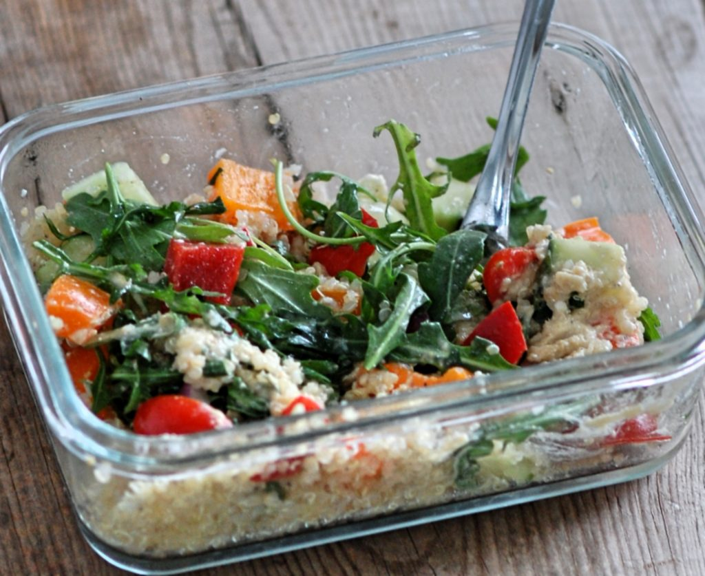 Eat Clean Mediterranean Hummus Prep Salads by CleanFoodCrush
