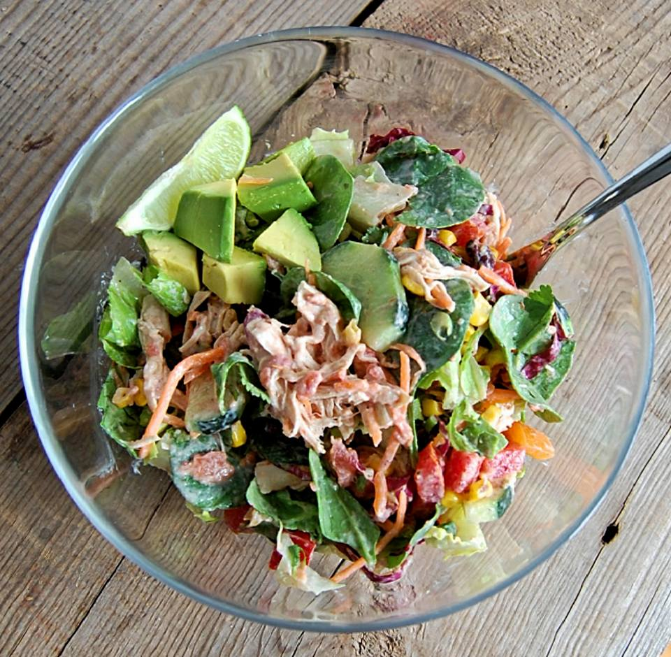 Eat Clean Mexican Salad with Creamy Salsa Dressing