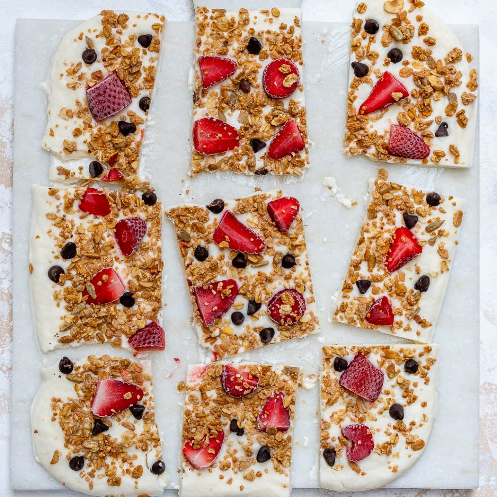Eat Clean Strawberry Chocolate Chip Granola Yogurt Bark