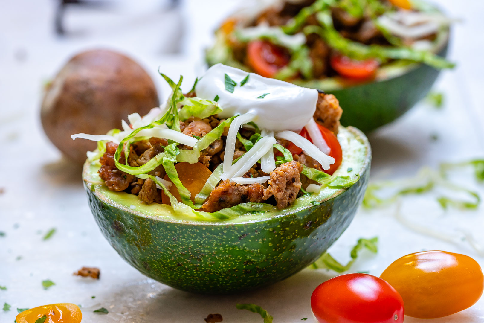 Eat Clean Turkey Taco Stuffed Avocados with all the Goodies