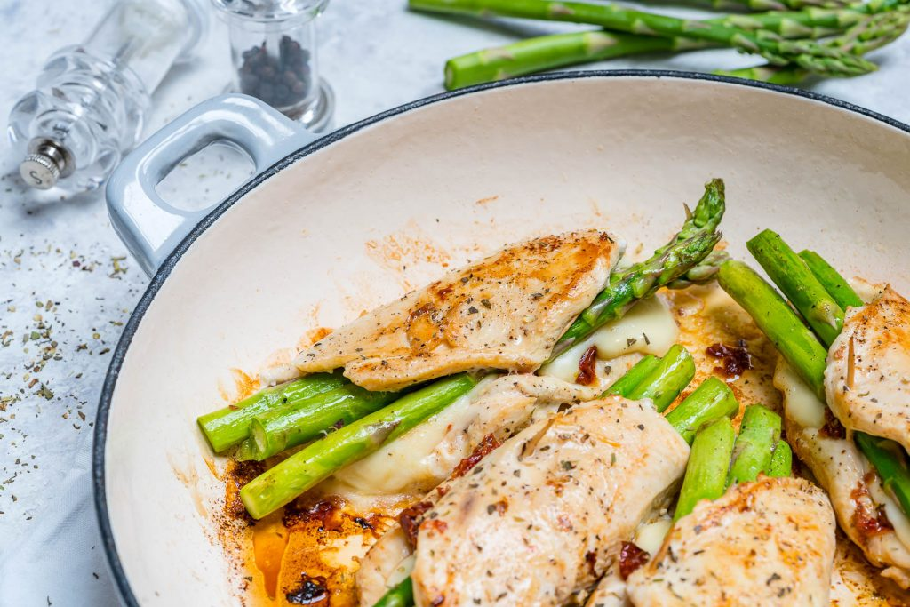 Healthy Asparagus Sun-dried Tomato Stuffed Chicken Skillet