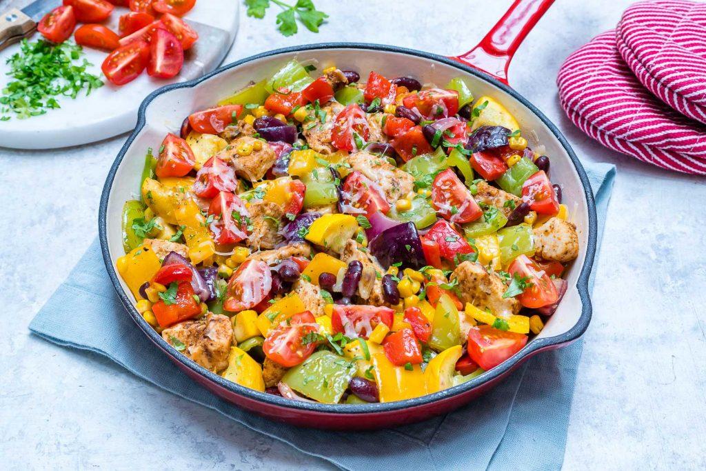 Colorful Zucchini Chicken Skillet