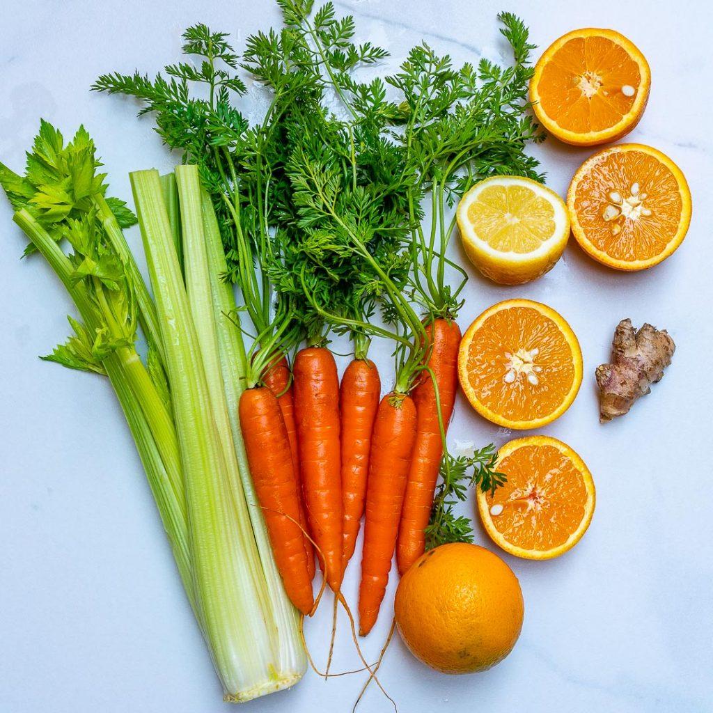 Veggies and oranges clean ingredients