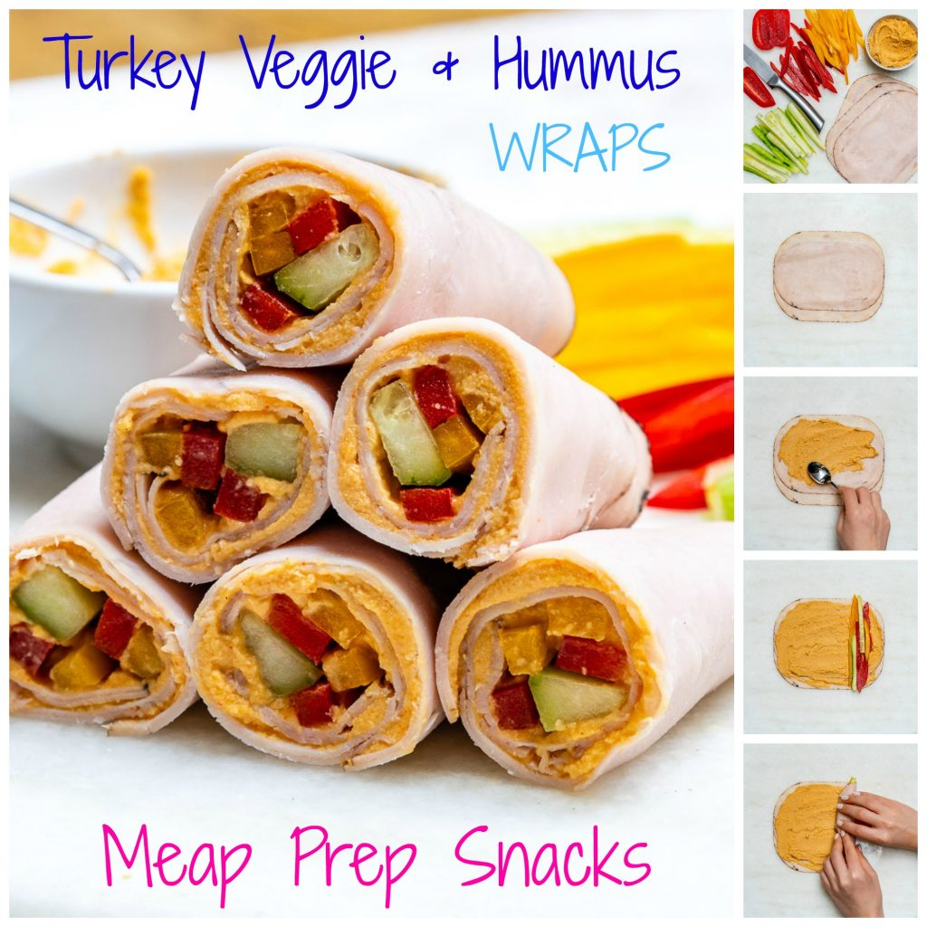 Turkey Veggie Hummus Wraps Healthy Snacks