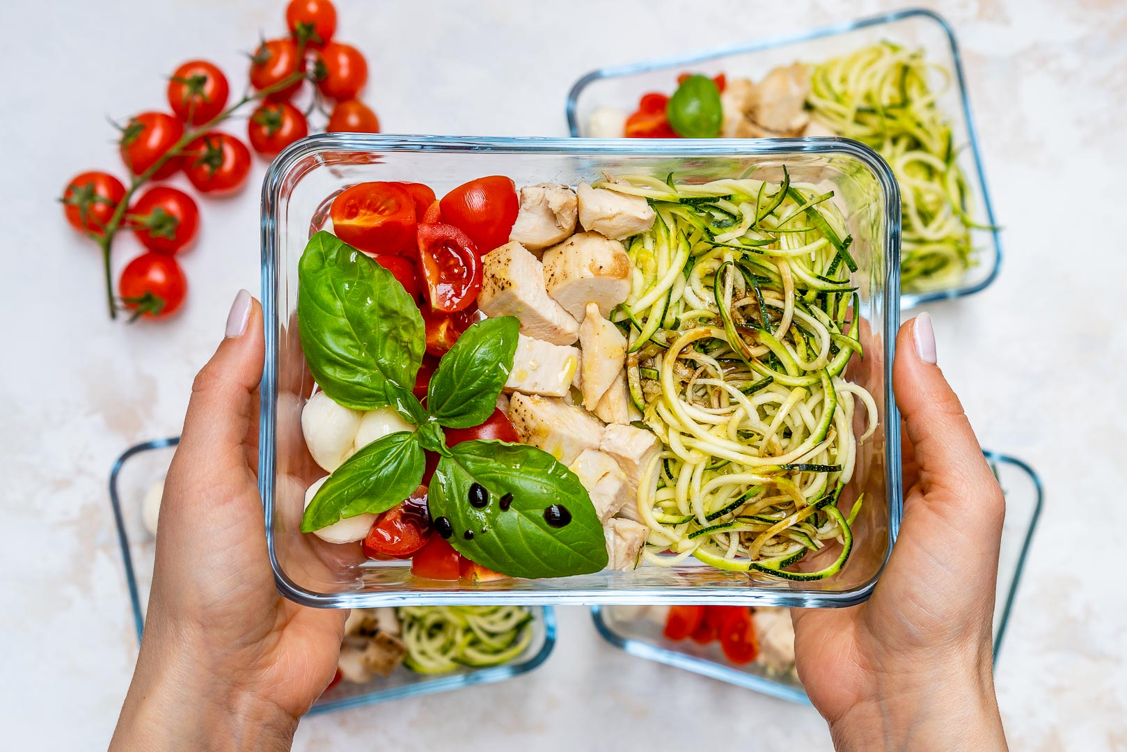 Caprese Chicken Zoodles for Meal Prep