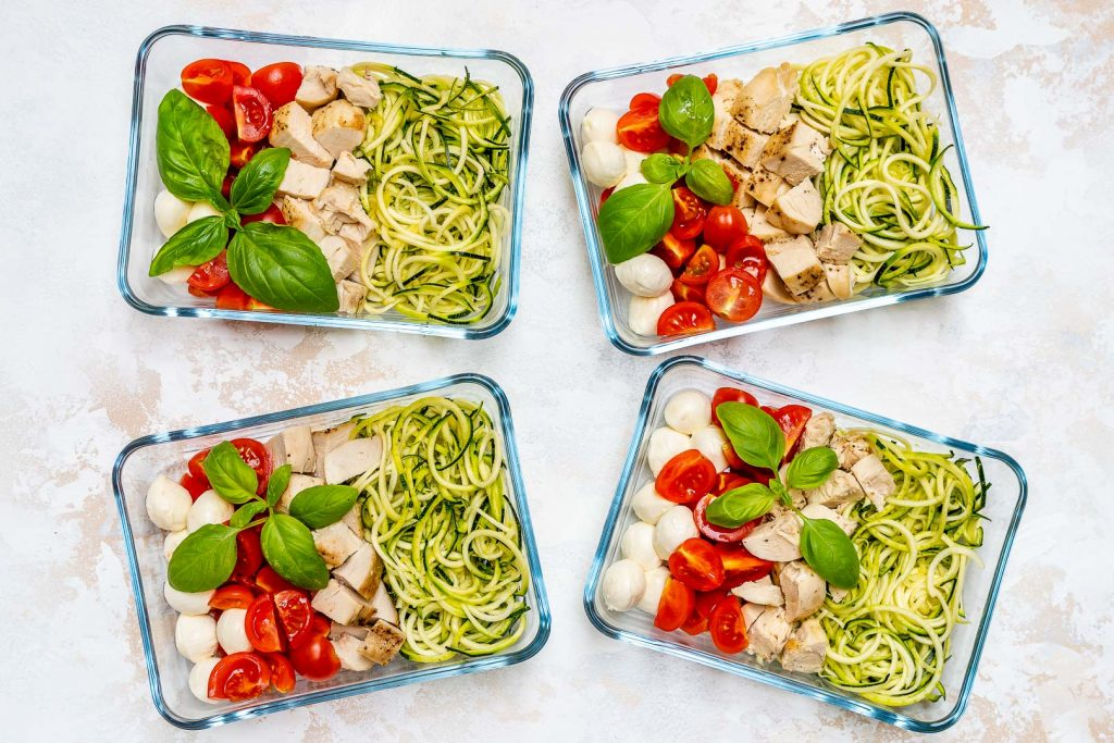 Caprese Chicken Zoodles Meal Prep Recipe