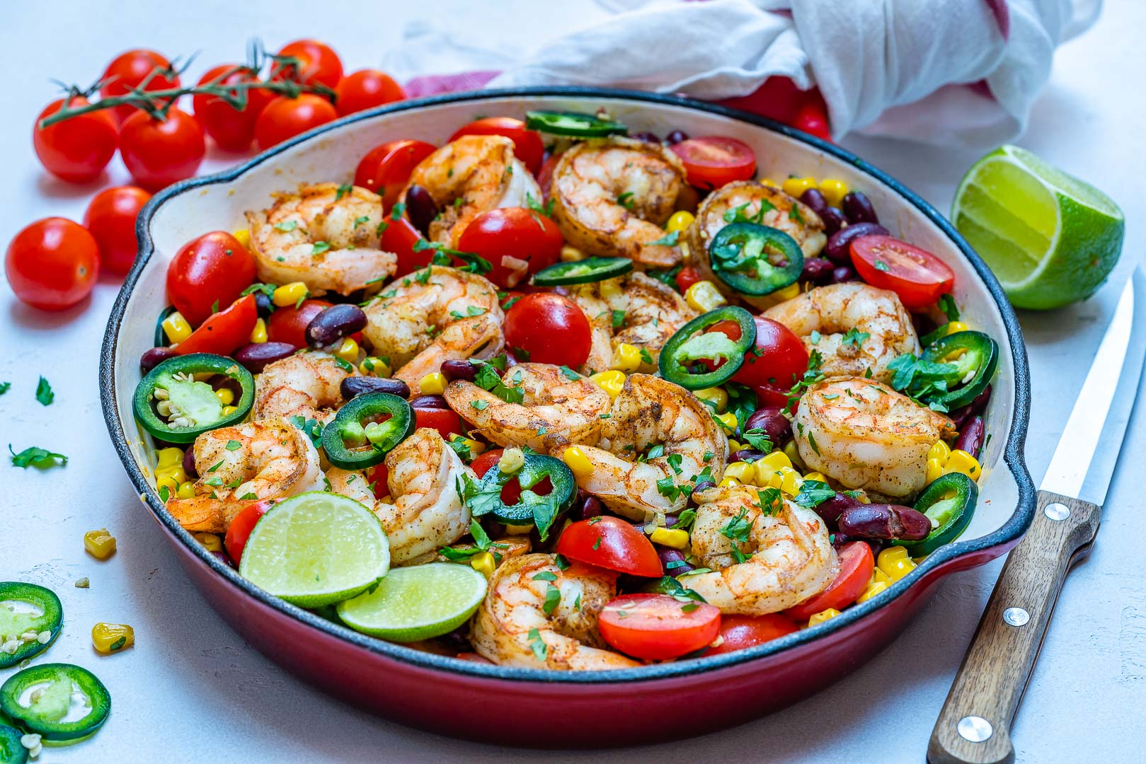 Clean Eating Spicy Shrimp Skillet