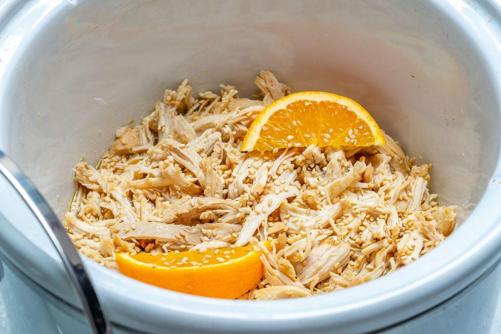 Clean Eats Crockpot Orange Sesame Shredded Chicken