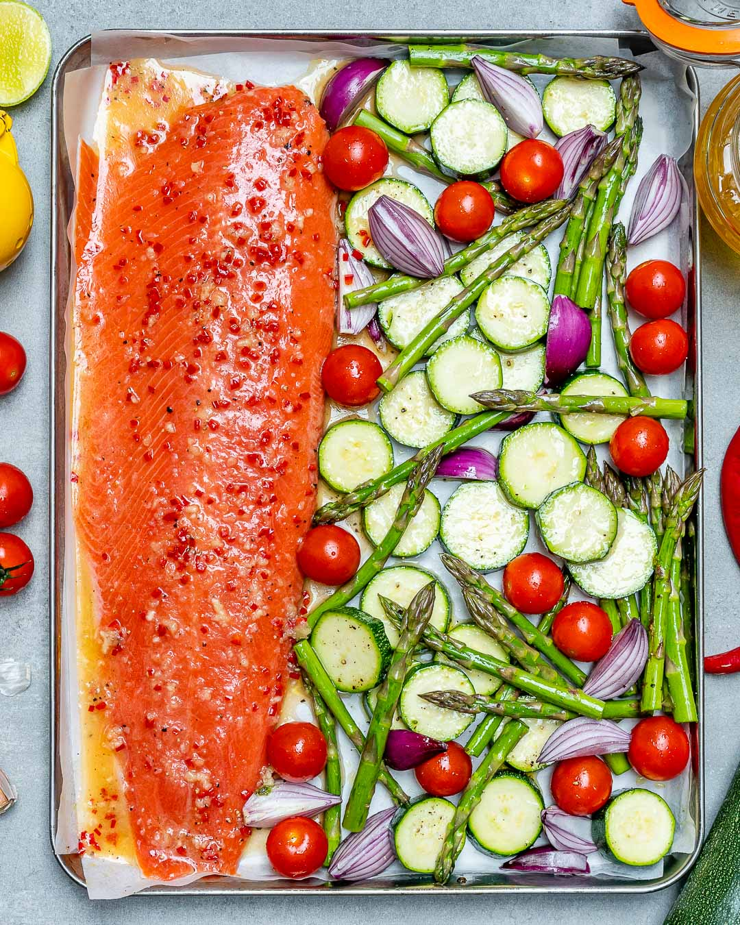 Clean Eats Sheet Pan Chili Lime Salmon Veggies