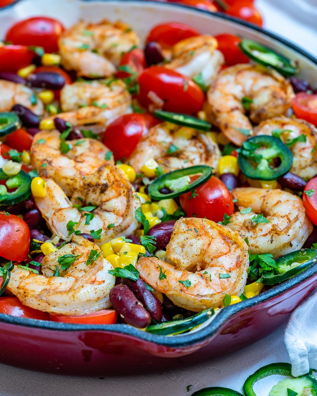 Clean Eats Spicy Shrimp Skillet
