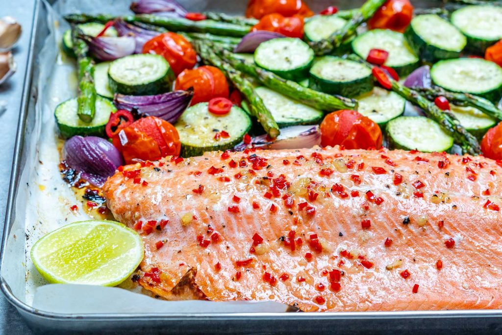 Eat Clean Sheet Pan Chili Lime Salmon + Veggies