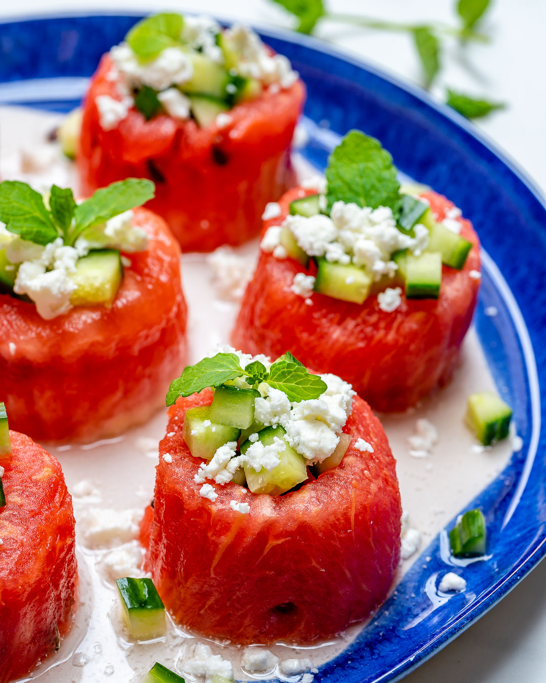Summer Clean Eating Watermelon Feta Cucumber