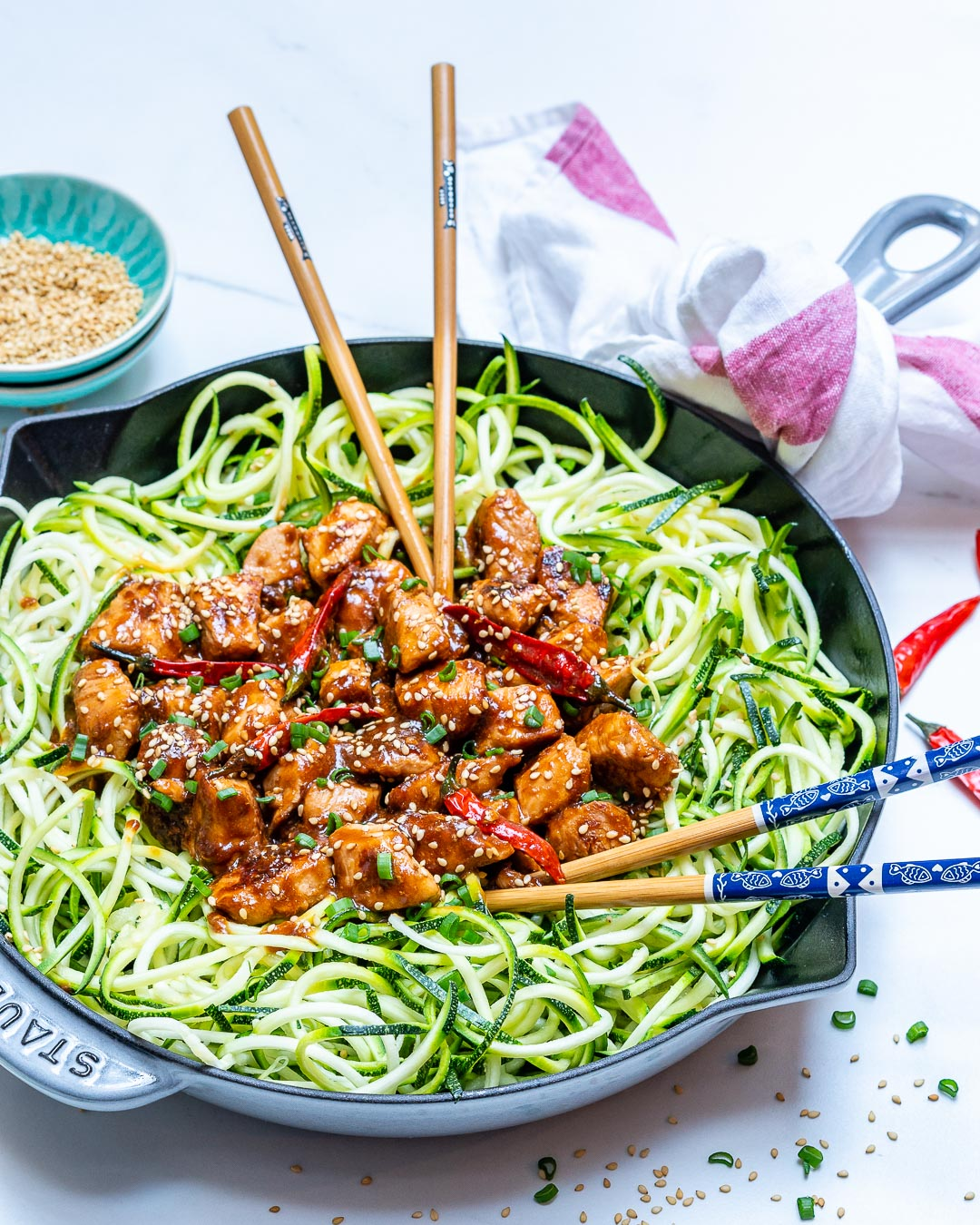 Kung Pao Chicken Zoodles by CleanFoodCrush