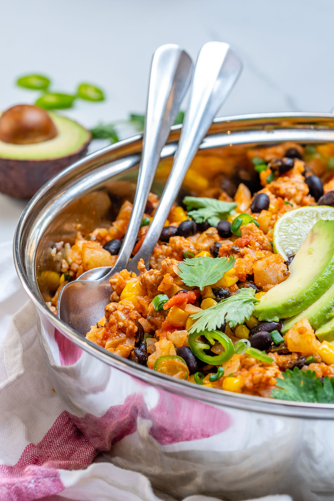 Healthy Taco Cauliflower Rice Skillet