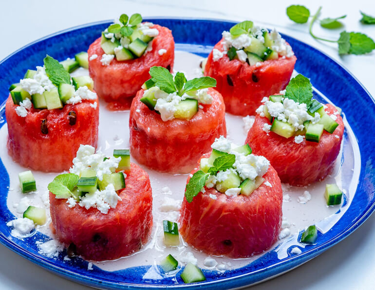 Watermelon Feta Cucumber Cups Recipes
