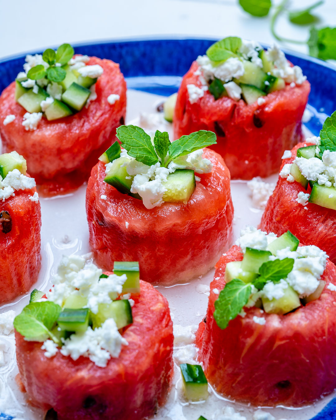 Watermelon Feta Cucumber Cups Healthy Snacks