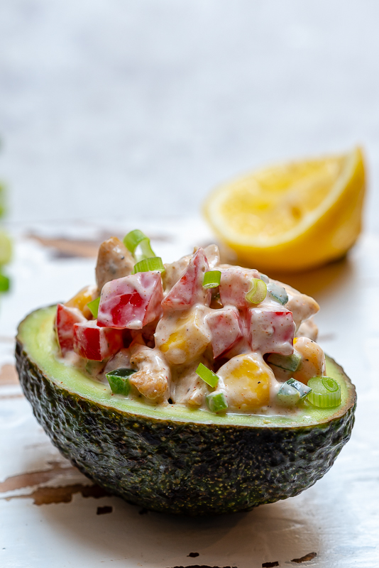 Chipotle Chicken Stuffed Avocado Healthy Salad Recipe