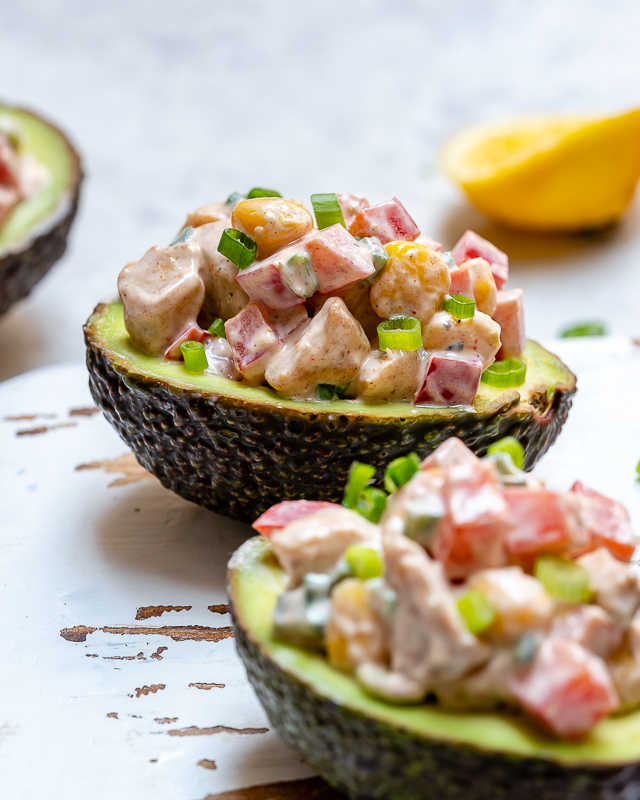 Clean Eating Chipotle Chicken Salad Stuffed Avocado