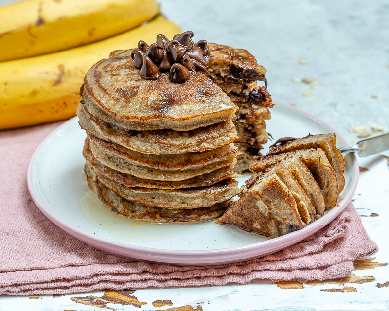 Healthy Breakfast Chocolate Chip Protein Pancakes