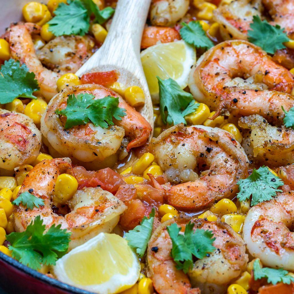 Cilantro-Lime Shrimp Corn Skillet Meal Prep