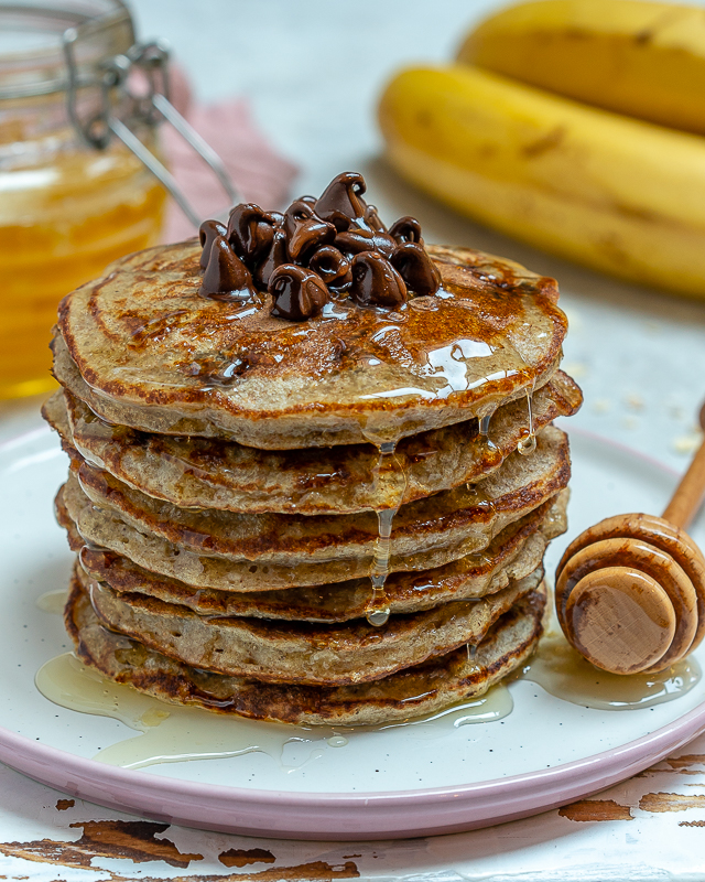 Clean Chocolate Chip Protein Pancakes