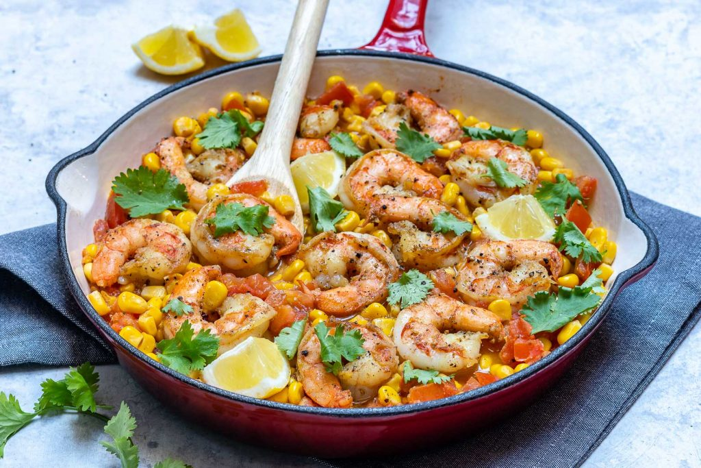 Eat Clean Diet Recipe Cilantro-Lime Shrimp Corn Skillet Meal