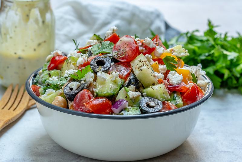 Greek Chickpea Salad Healthy Salad Recipe