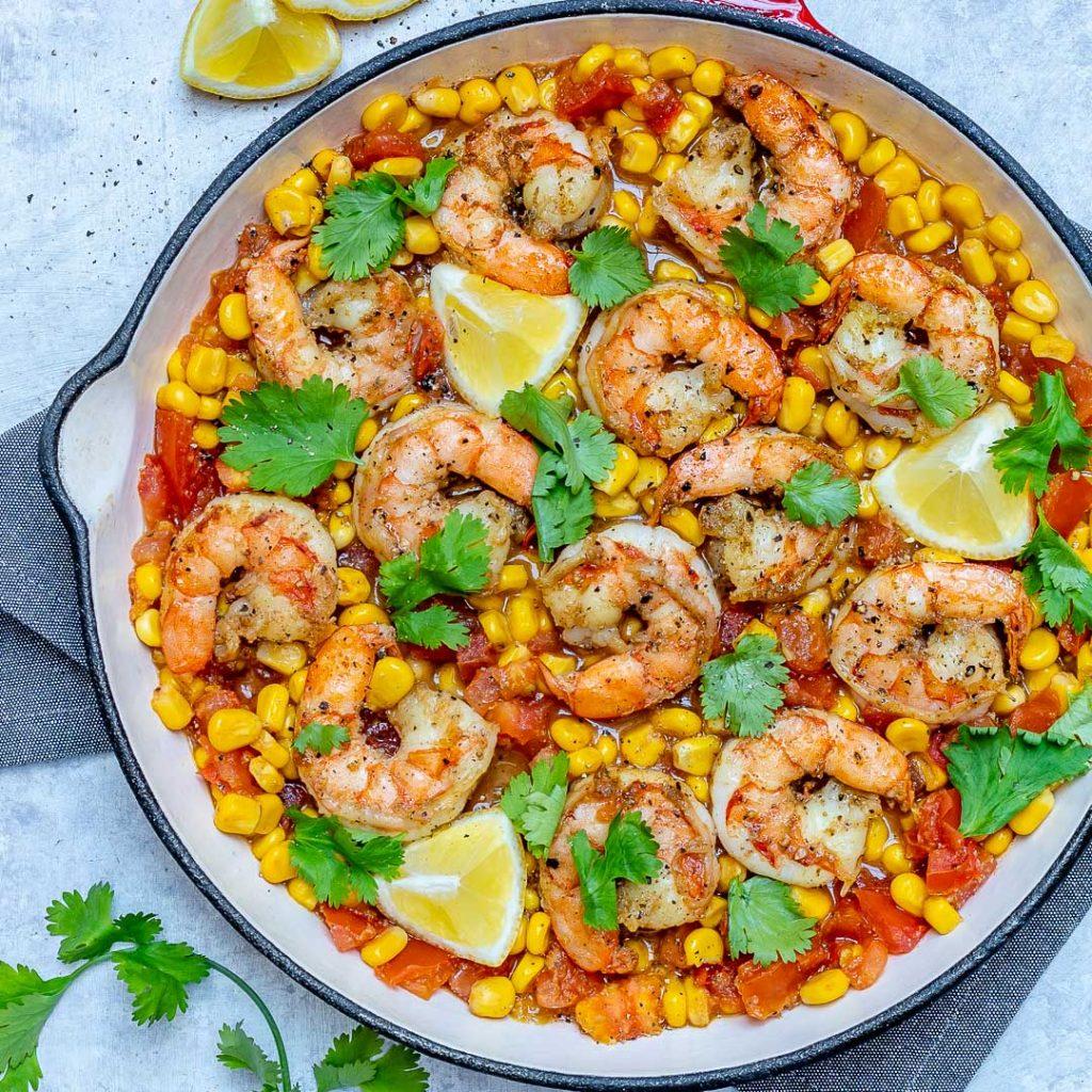 Healthy Cilantro-Lime Shrimp Corn Skillet Meal