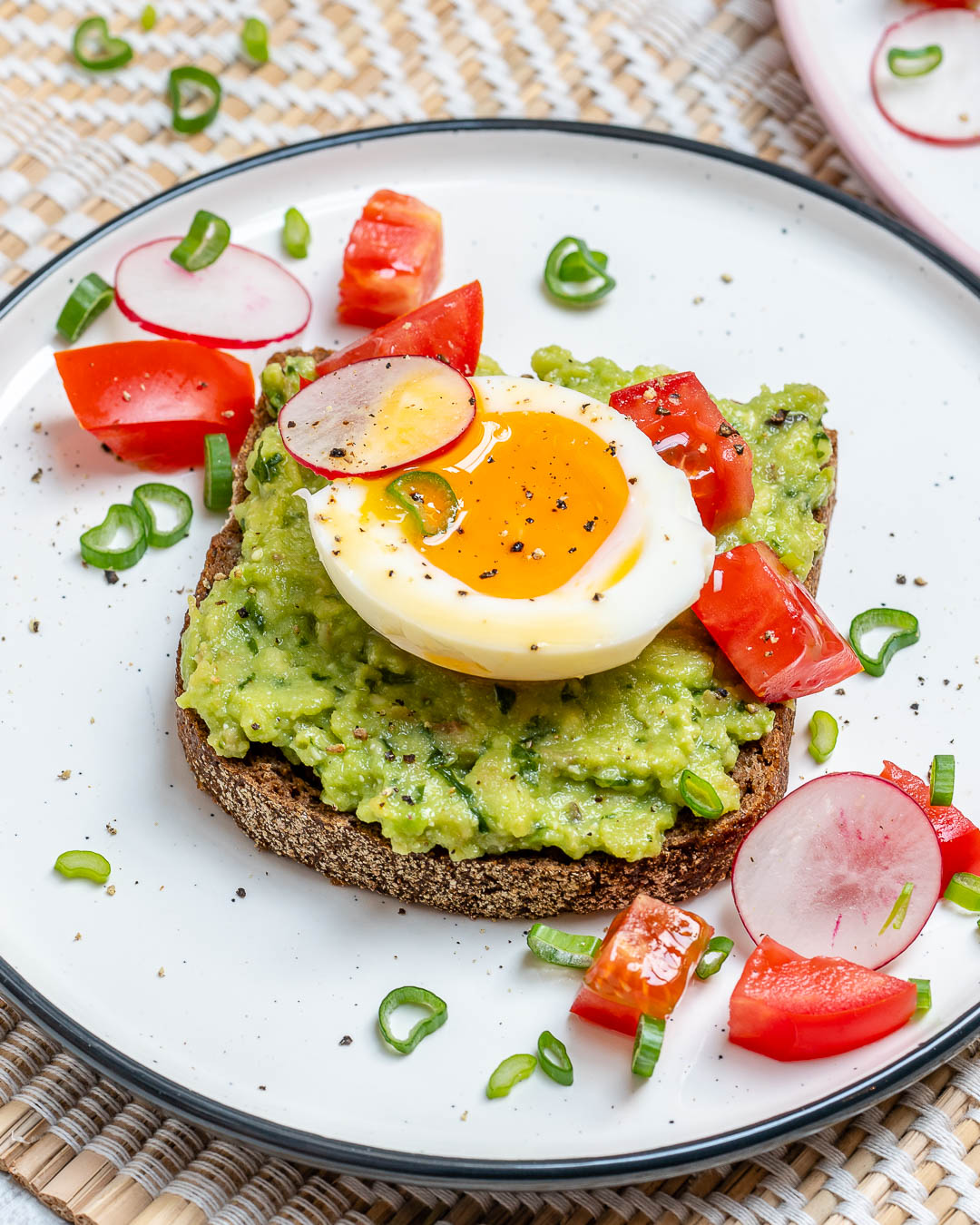 Clean Food Eating Soft Boiled Egg Avocado Toast