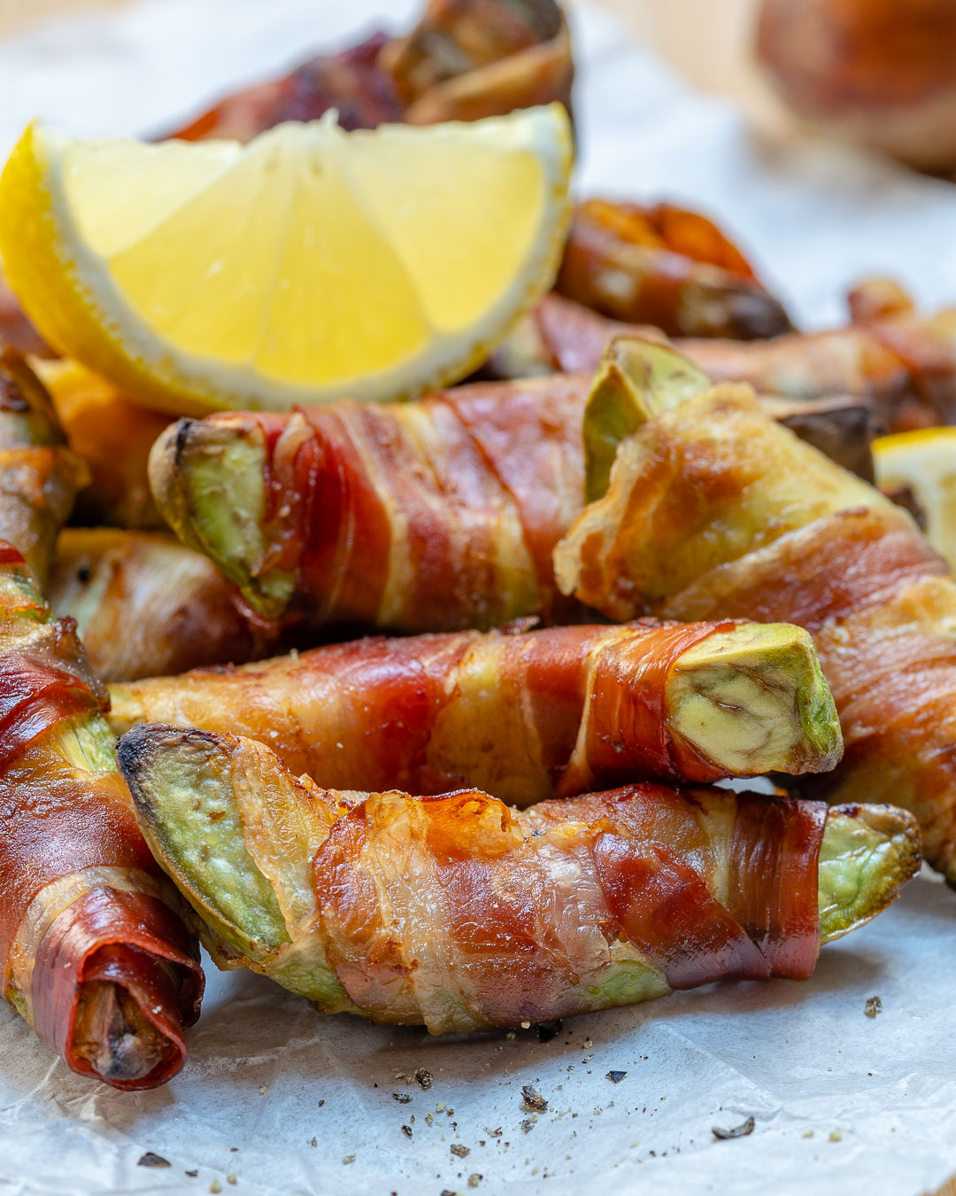 Clean Eating Bacon Wrapped Avocado Fries