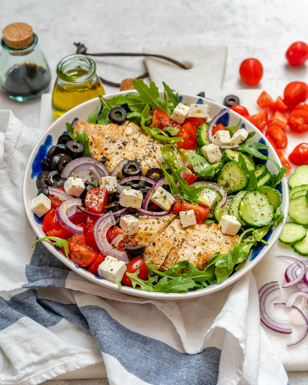 Greek Chicken Chopped Clean Salad Ingrdients