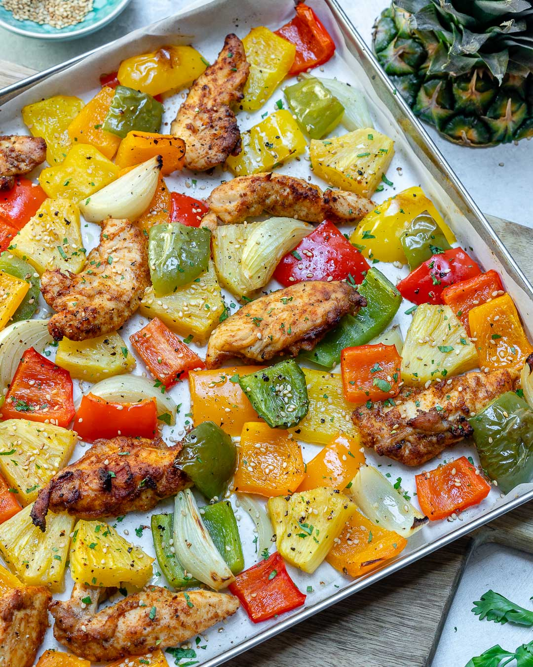 Clean Sheet Pan Hawaiian Pineapple Chicken Recipe