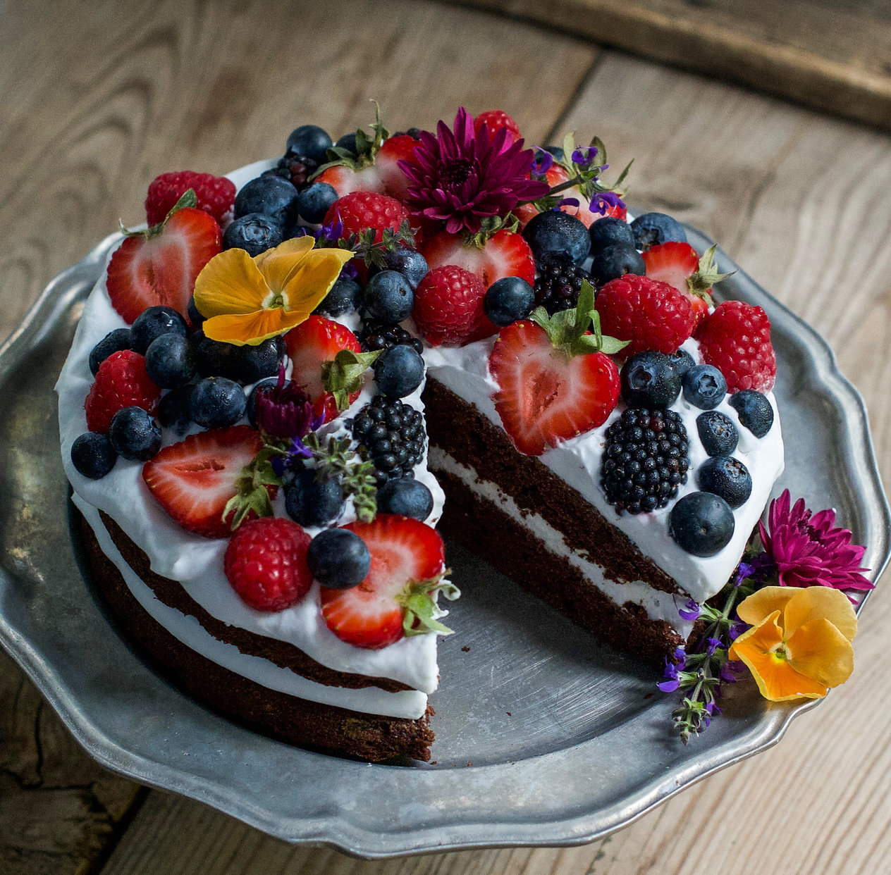 Coconut Whipped Frosting Chocolate Summer Cake