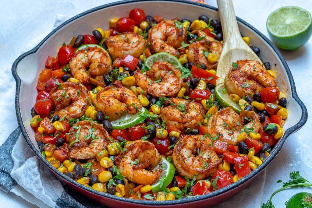 Eat Clean One-Pan Shrimp Burrito Skillet