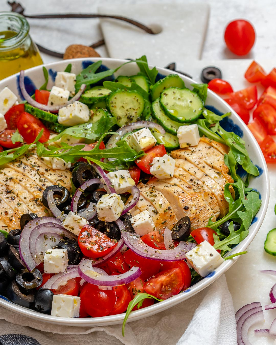 Healthy Greek Chicken Salad Lunch Idea