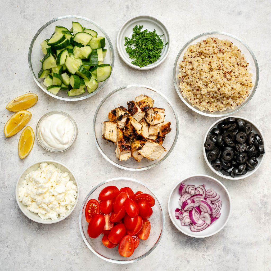 Greek Style Grilled Chicken Quinoa Bowl Ingredients