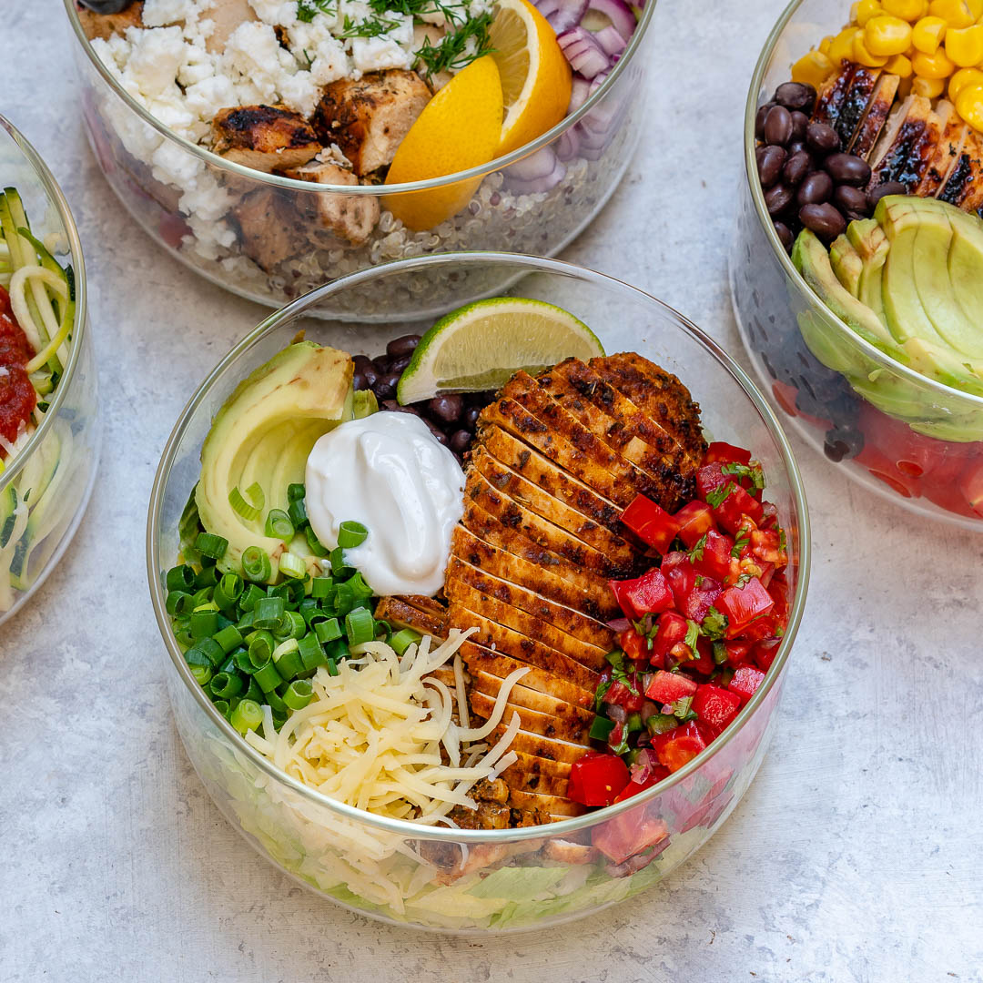 Grilled Chicken Burrito Salad Bowl Food Prep
