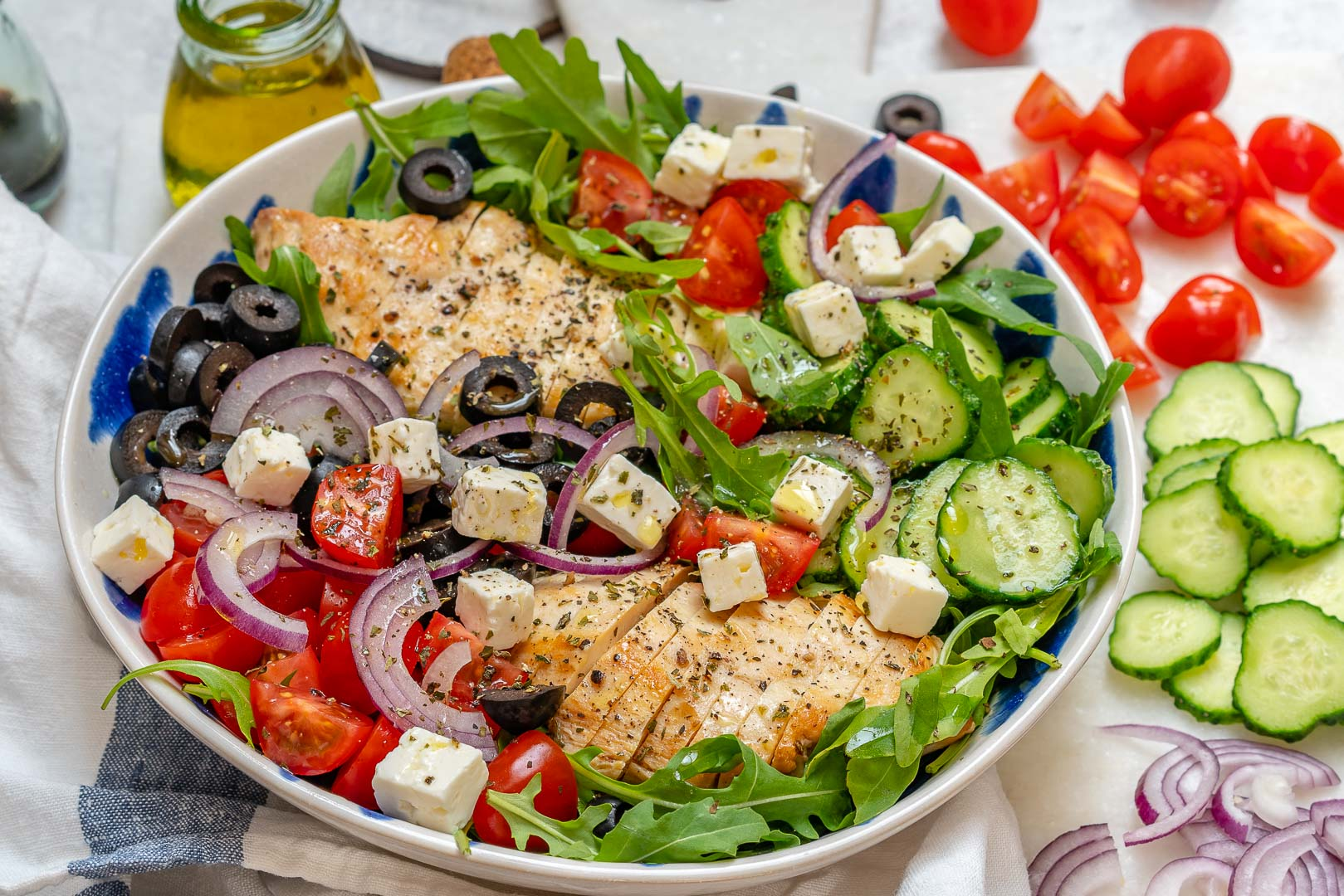 Healthy Greek Chicken Chopped Salad