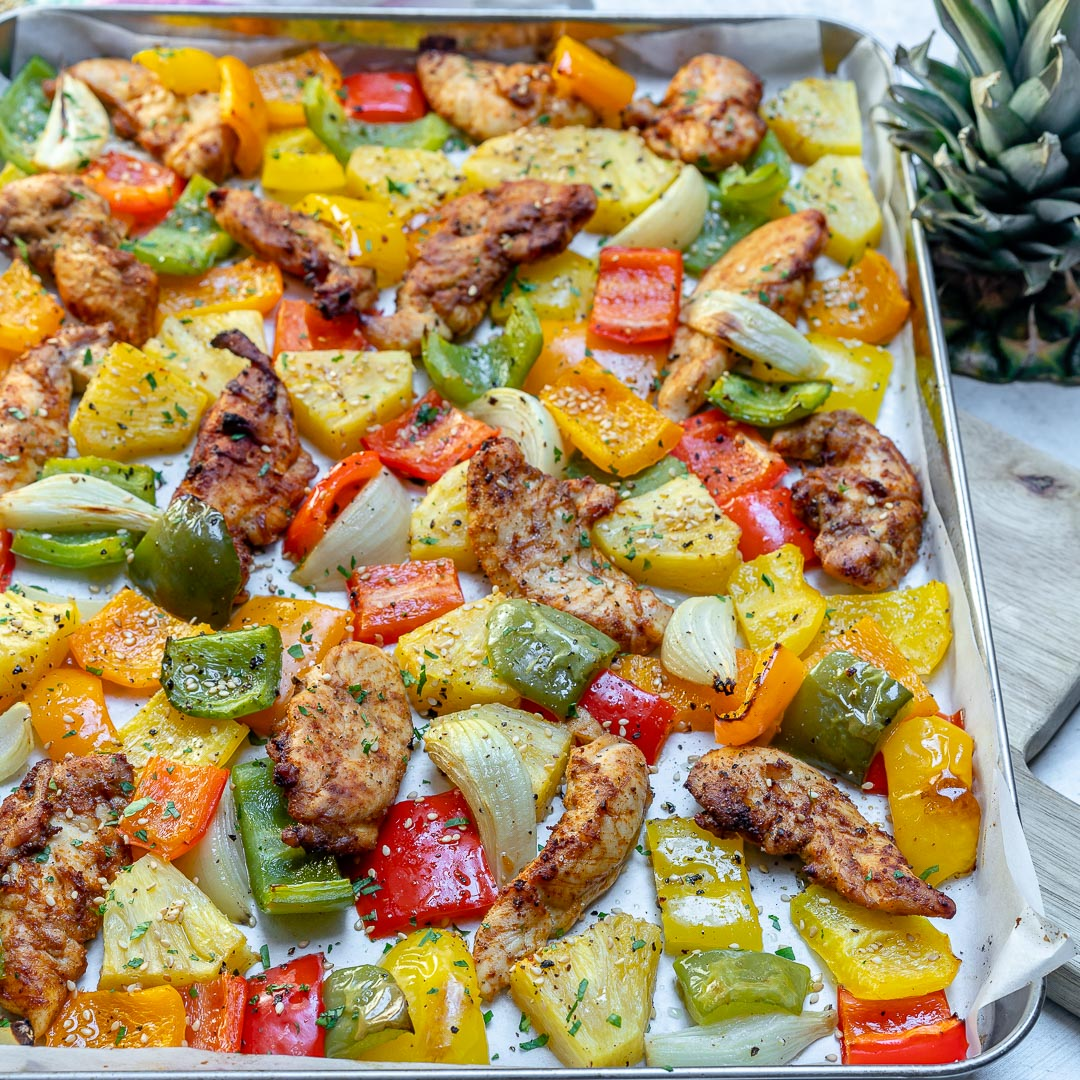 Healthy Sheet Pan Hawaiian Pineapple Chicken