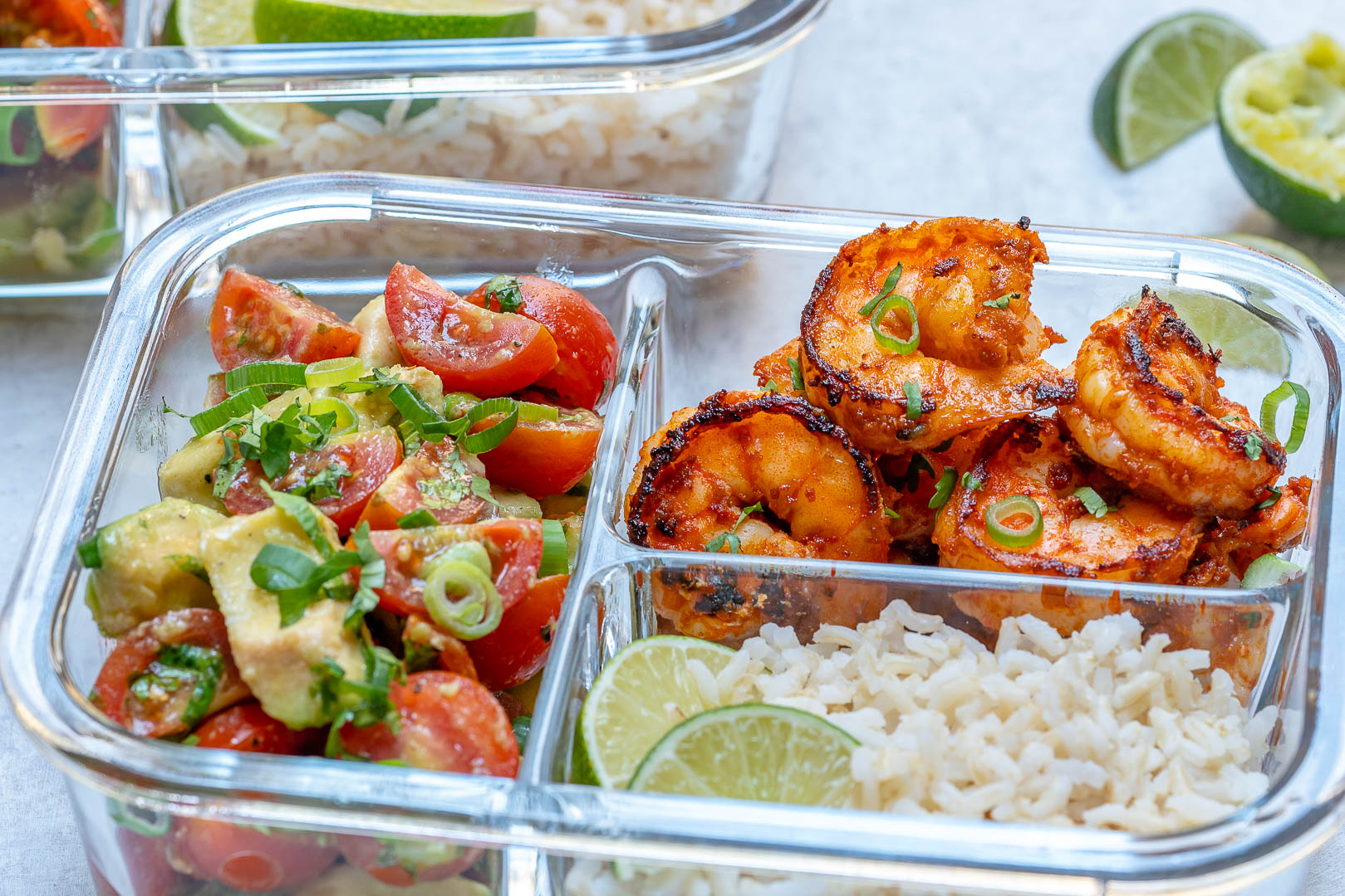 BBQ Shrimp Limey Avocado Salsa Meal Prep Bowls