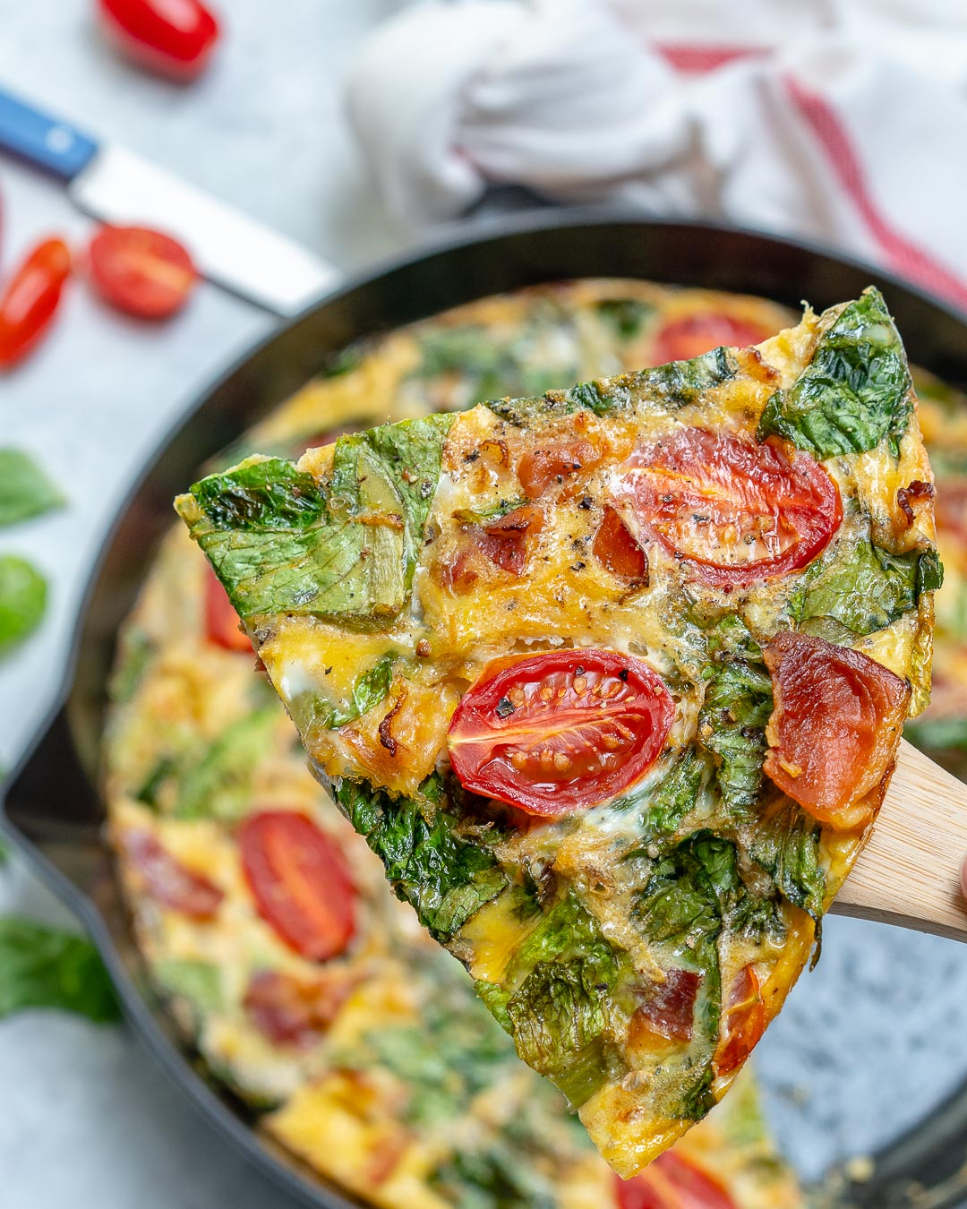 Slice of Baked BLT Frittata