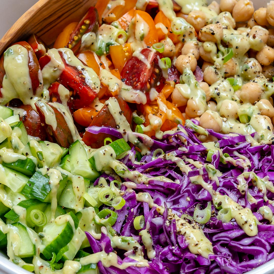 Chickpea Chopped Salad Creamy Avocado Healthy Lunch