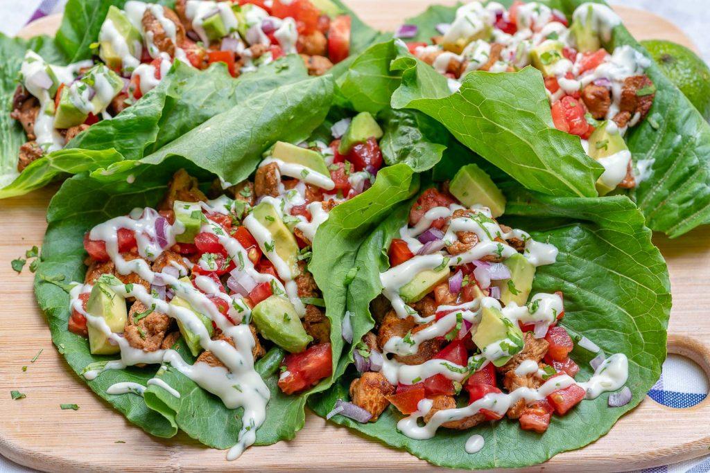 Clean Chipotle Chicken Lettuce Wraps + Cilantro Lime Sauce