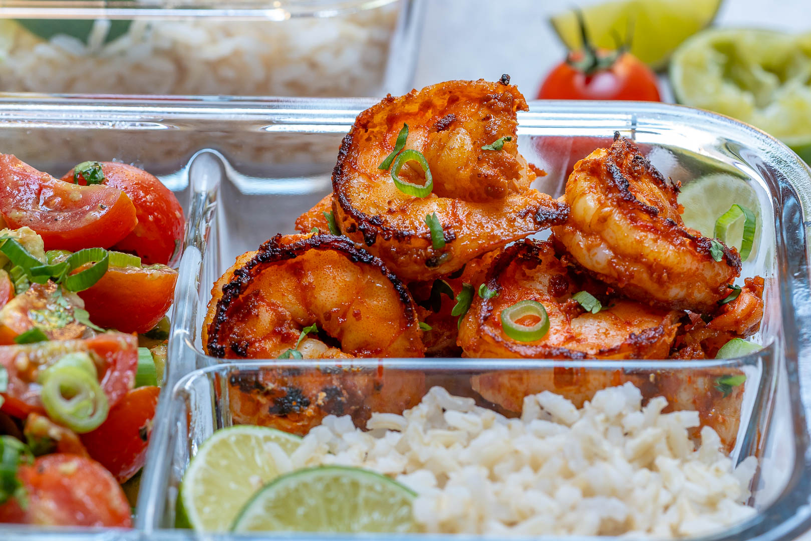 Clean Eats BBQ Shrimp + Limey Avocado Salsa Meal Prep Bowls