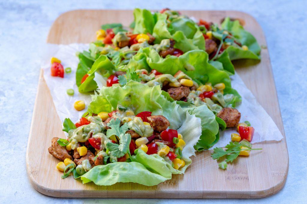 Clean Eats Chicken Taco Lettuce Wraps + Creamy Avocado Sauce