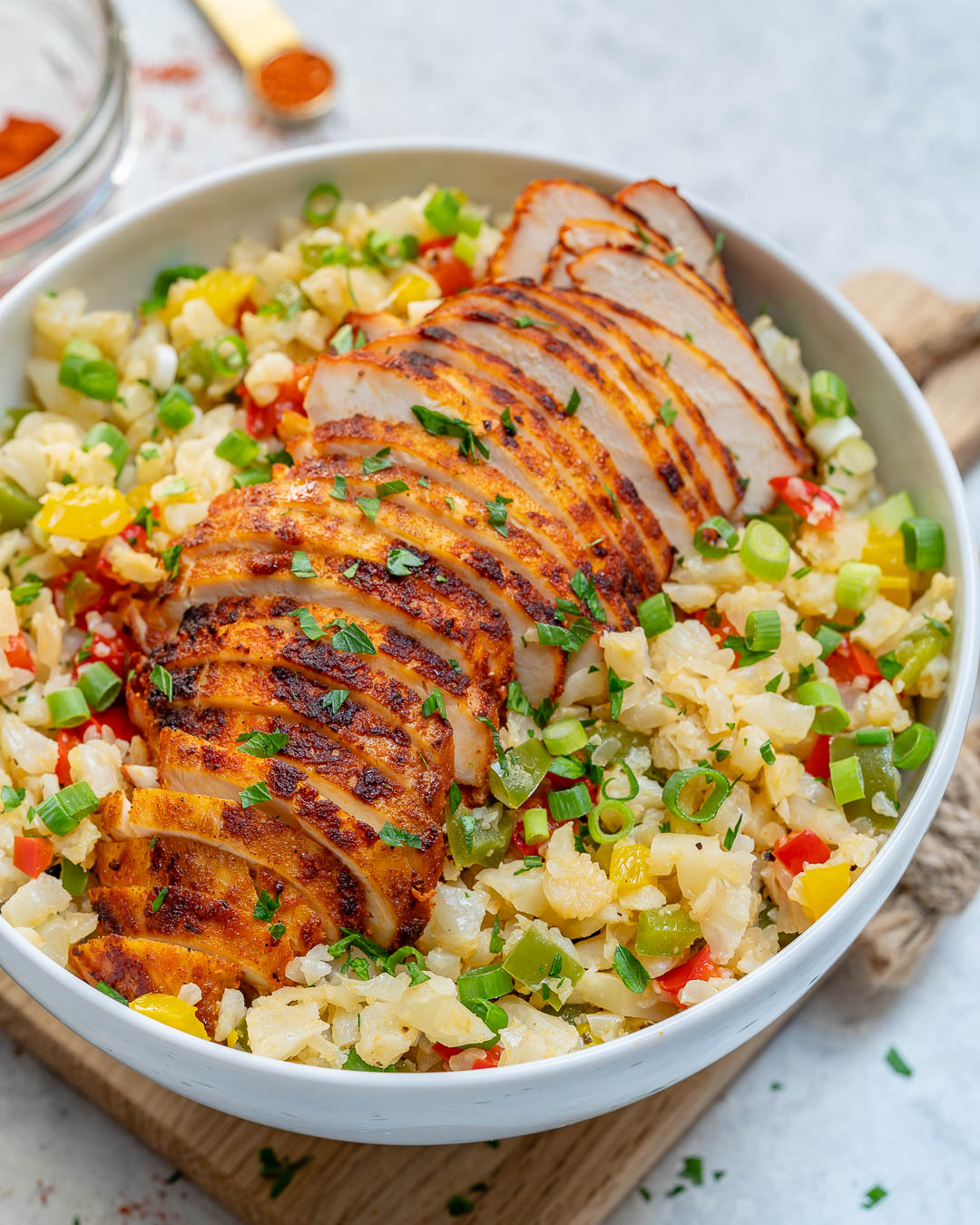 Healthy Sweet Paprika Chicken Cauli Rice Bowl